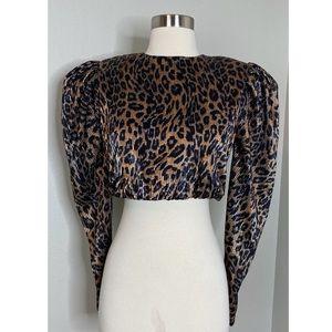 NBD Revolve Women's Metallic Leoprad Print Crop Top with Long Puff Sleeves